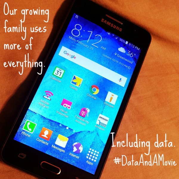 Our growing family uses more of everything. Including data. #DataAndAMovie