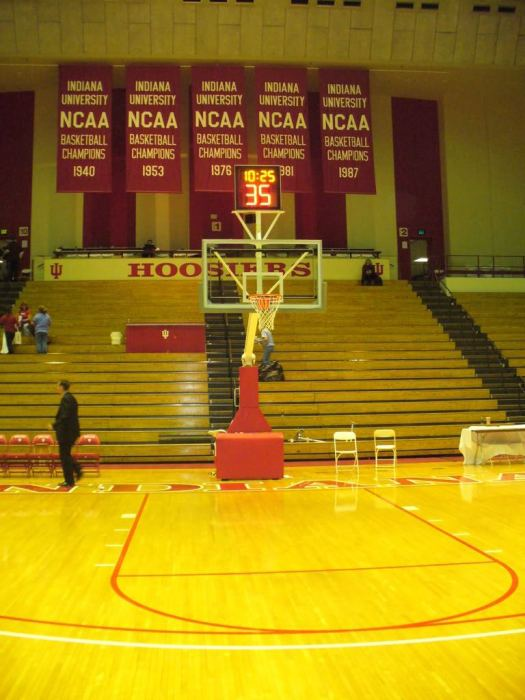 Banners at Assembly Hall in Bloomington Indiana Go Hoosiers