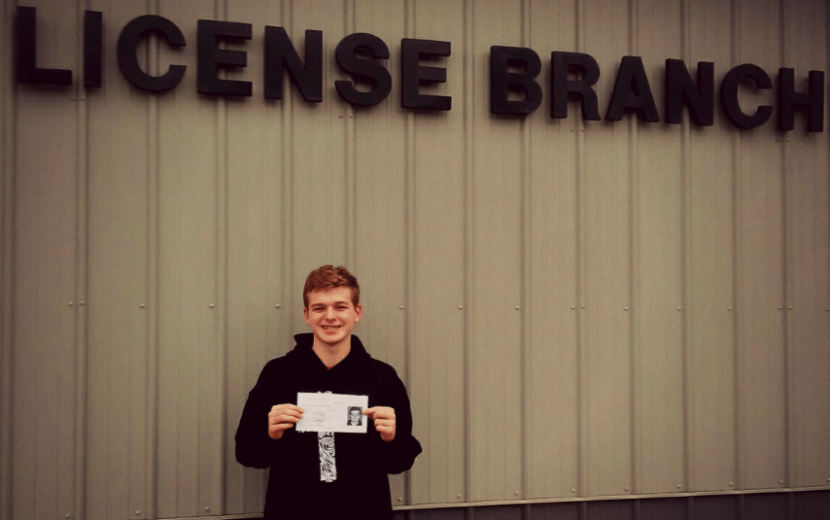 At the BMV with Aiden after he earned his Driver's License in February