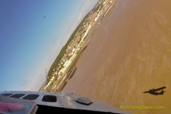 Cockpit view from a PBY Catalina over Weston-Super-Mare beach