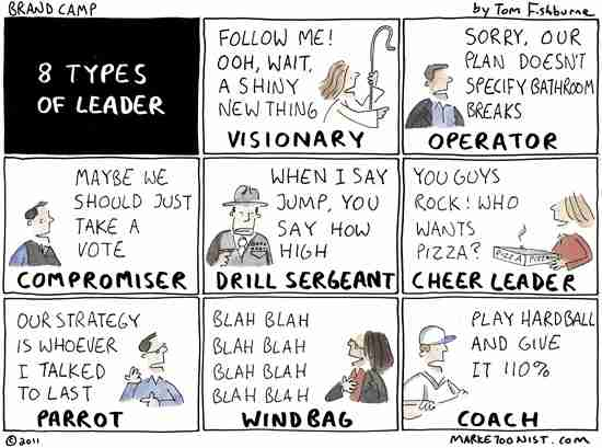 8 Types of Leader Cartoon