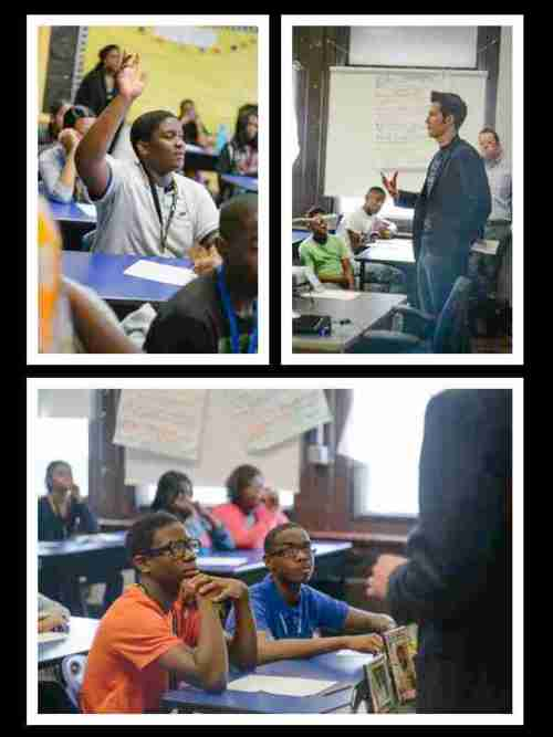 Collage of Matt speaking, kids paying attention, and one asking a question.