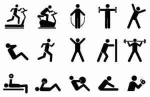 Pictures of stick figures exercising