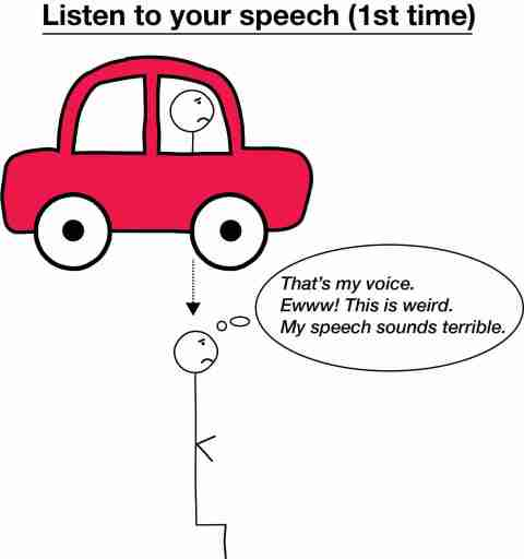 Stick figure in car listening to speech and disgusted with his speech