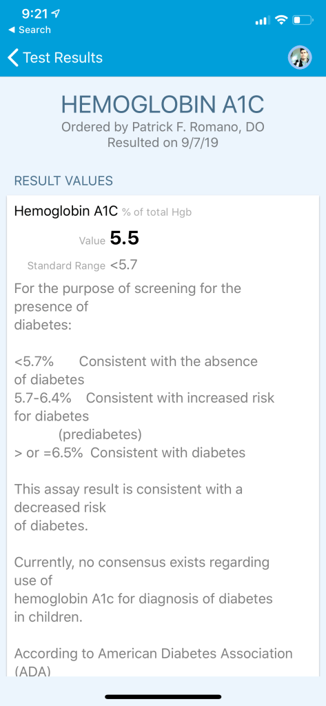 Matt's Hemoglobin A1c showing 5.5