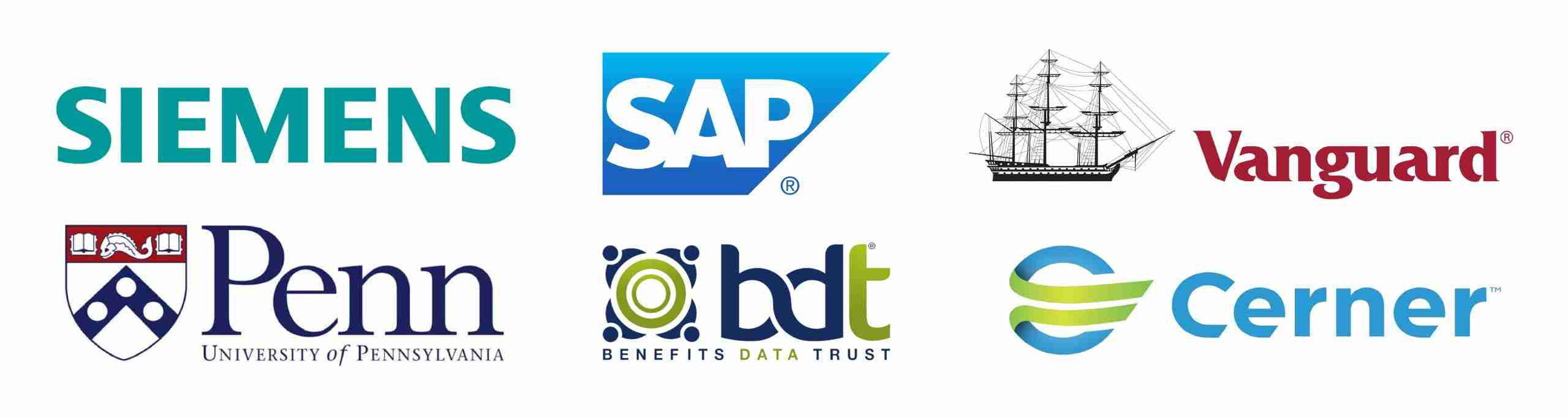 Logos Of Siemens, SAP, Vanguard, University Of Penn, Benefits Data Trust, Cerner