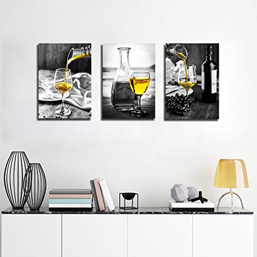 Kitchen Wall Art For Dining Room Wine Painting Artwork Matte Black Exchange