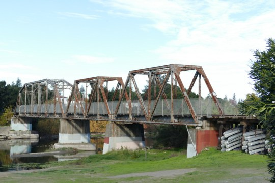 Russian River railroad bridge in Healdsburg