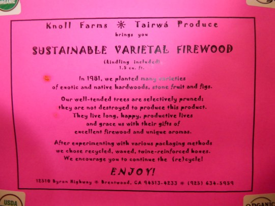 Sustainable varietal firewood