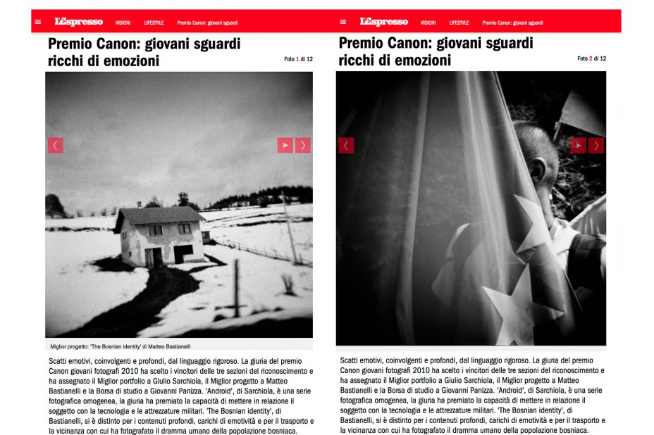 "January 2011 - ""The Bosnian Identity"" featured on L'Espresso magazine"