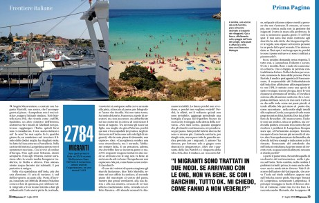 July 2019 - Some of my pictures realized in Lampedusa have been published in L'Espresso magazine, with a text written by Susanna Turco.
