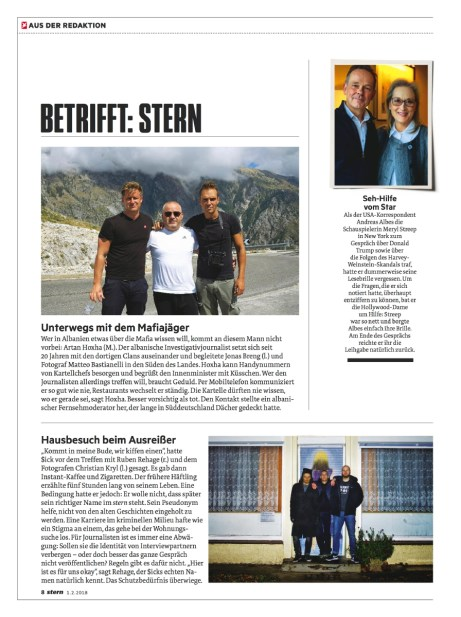"February 2018- My assignment realized in Albania, part of the long-term project ""Green gold"", published as cover story in Stern magazine, with a text written by Jonas Breng."