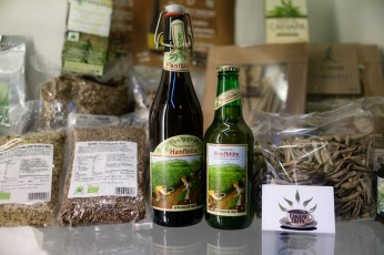 """Some industrial hemp-based foodstuffs on sale at the headquarters of the cultural association """"Canapa caffè"""". Rome, Italy 2016. © Matteo Bastianelli"""