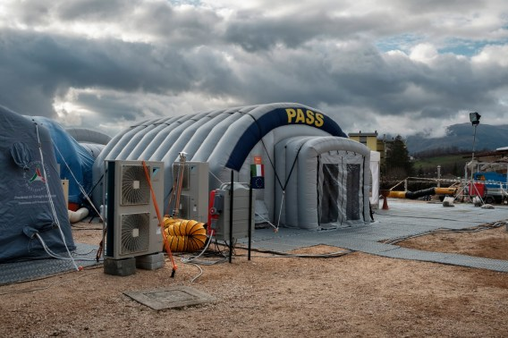 "A Civil Protection social and health station (PASS) set up inside a tent at the Lazio Camp. Amatrice, Italy 2016. © Matteo Bastianelli for ""La Stampa"""