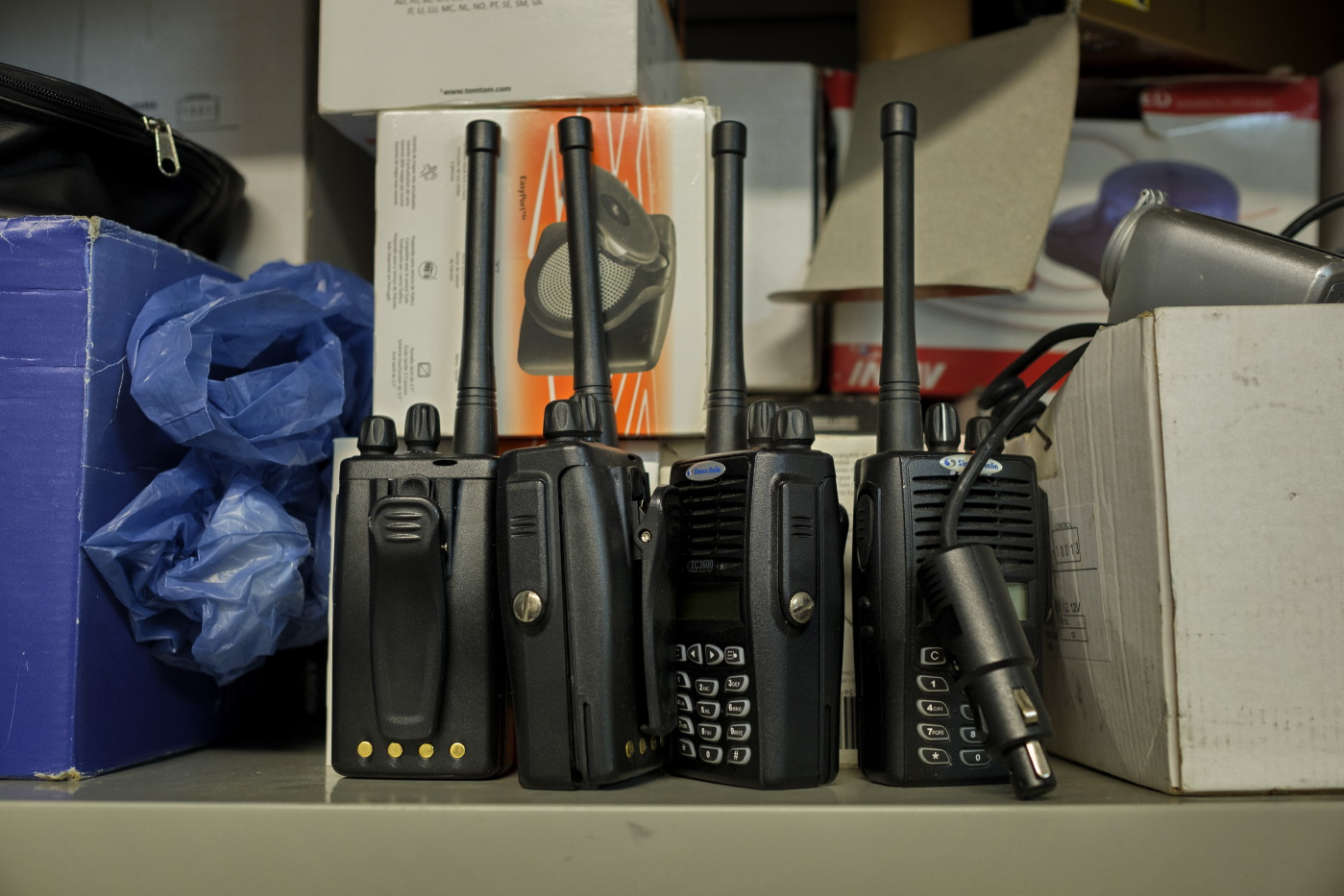 Some handheld transceivers in the local control office of the Guardia di Finanza (Financial Police) in Lecce, Italy 2016. © Matteo Bastianelli