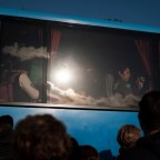 Some displaced people by the earthquake that hit central Italy, sheltered on a bus. After structural damages to several buildings of the town, an order has been given to evacuate citizens, who have been accommodated in public facilities, tents, and hotels. Camerino, Italy 2016. © Matteo Bastianelli