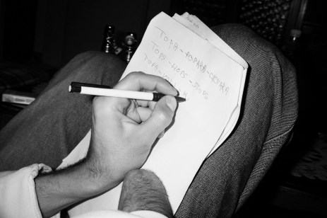"""Adis writing his nickname: """"Topa"""" which, in the Bosnian language means both a way of being and a type of cheese. His friends often say: """"Topa is mad"""". Sarajevo, Bosnia and Herzegovina, 2010. © Matteo Bastianelli"""