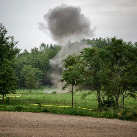 The detonation operated by the Explosive Ordnance Disposal (EOD) personnel in order to destroy all the mines and unexploded ordnance collected during the week from Norwegian People's Aid deminers. Brčko, Brčko District, Bosnia and Herzegovina, 2014.