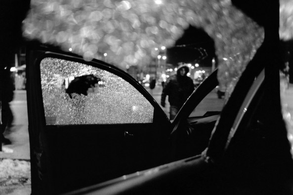The results of a shoot-out in the centre of Skenderja. Two criminals armed with Kalashnikovs opened fire while the police tried to intervene during an exchange of drugs. Sarajevo, Bosnia and Herzegovina, 2010. © Matteo Bastianelli