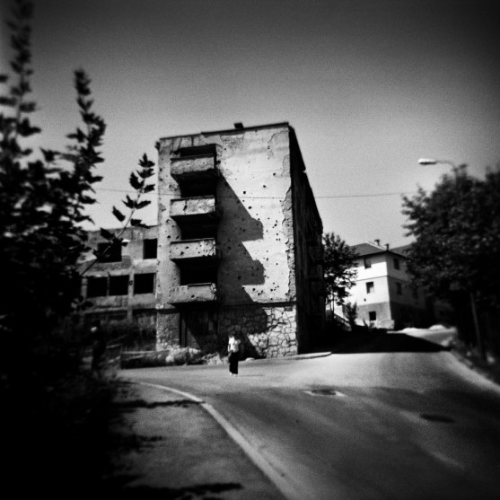 A building near the children's hospital which was bombed during the four-year siege of the Bosnian capital. Sarajevo, Bosnia and Herzegovina, 2009. © Matteo Bastianelli