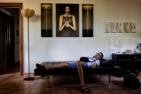 38-year-old Andrea Trisciuoglio, affected by multiple sclerosis, relaxes in his mother's living room. Andrea's annual medical examinations have shown that since he started using cannabis for therapeutic purposes, no other plates responsible for the disease progression, have formed. Foggia, Italy 2016. © Matteo Bastianelli