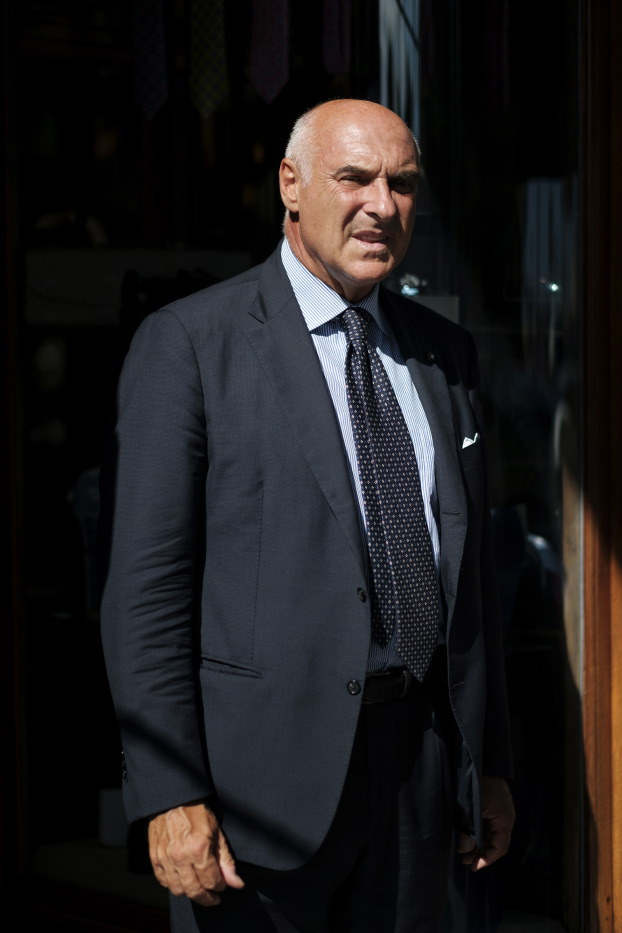 The master Maurizio Marinella is seen in front of the historic venue of his tie shop. The family brand was born in the early 1900s when Eugenio Marinella laid the basis for the international success of the then Neapolitan small business. Naples, Italy 2017. © Matteo Bastianelli