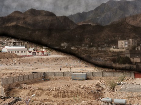 A view of Al Houban, controlled by the Houthis, an outskirt of Taiz city, now a battlefield enduring some of the heaviest fighting in the country. Many displaced persons live in this area, in a variety of conditions that range from unhygienic makeshift shelters to rental accommodation. Taiz, Yemen 2018. © Matteo Bastianelli