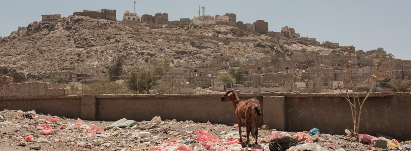 A goat is seen among the garbage, in the background a view of the surrounding village. The ongoing war and a blockade on essential goods have caused the widespread disruption of markets and the provision of basic public services, such as waste management, electricity and water supply. Ad Dhale, Yemen 2018. © Matteo Bastianelli