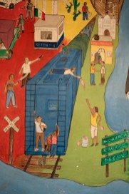 "A mural depicting a typical scene migrants have to face at the Mexican borders, painted in the shelter of ""Casa del Buen Samaritano"" by the migrants hosted in the facility with the help of volunteers from the Migrant Orientation Center of Oaxaca (COMI), a nonprofit organization that provides humanitarian assistance to migrants. Oaxaca de Juarez, Mexico 2019. © Matteo Bastianelli"