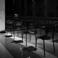 Empty chairs and benches in the church of San Barnaba, in the Prenestino-Labicano district. According to the rules imposed by the Prime Ministerial Decree of 8 March 2020 for the containment of the Coronavirus, civil and religious ceremonies, including funeral ceremonies are suspended on the whole national territory until April 3. Rome, Italy 2020. © Matteo Bastianelli