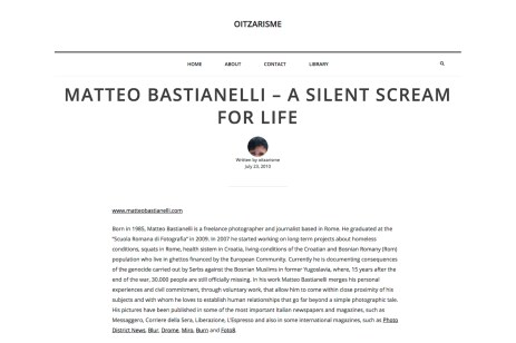 "July 2010 - ""A silent scream for life"" published in Oitzarisme"