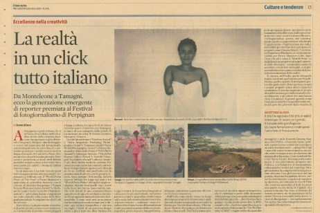 "September 2010 - Article about my work featured on ""Il Sole 24 ore"""
