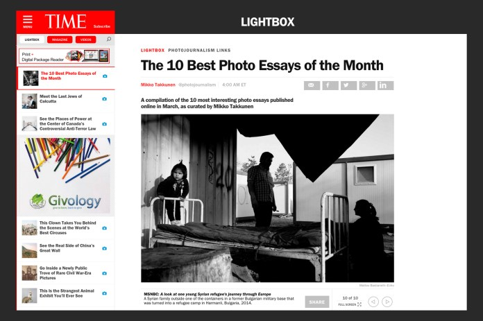 "April 2015 - ""Souls of Syrians"" featured on TIME Lightbox among the 10 best photo essay of the month"