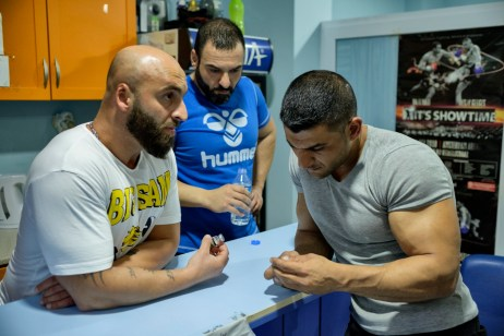 39-year-old award-winning Syrian bodybuilder, Ibrahim Shehabi, looks at a small vial of anabolic steroids in a gym. The use of steroids in bodybuilding has become common practice. Istanbul, Turkey 2016. © Matteo Bastianelli