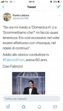 Un tweet di addio a Fabrizio Frizzi