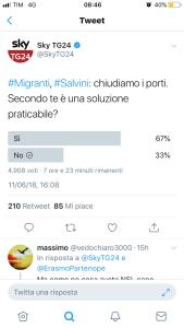 Il Tweet  sulla chiusura dei porti come soluzione