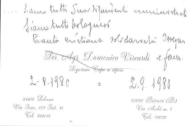 """Fotografia di una lettera scritta ad un mese della strage di Bologna riportante la frase: """"Siamo tutti bolognesi"""""""