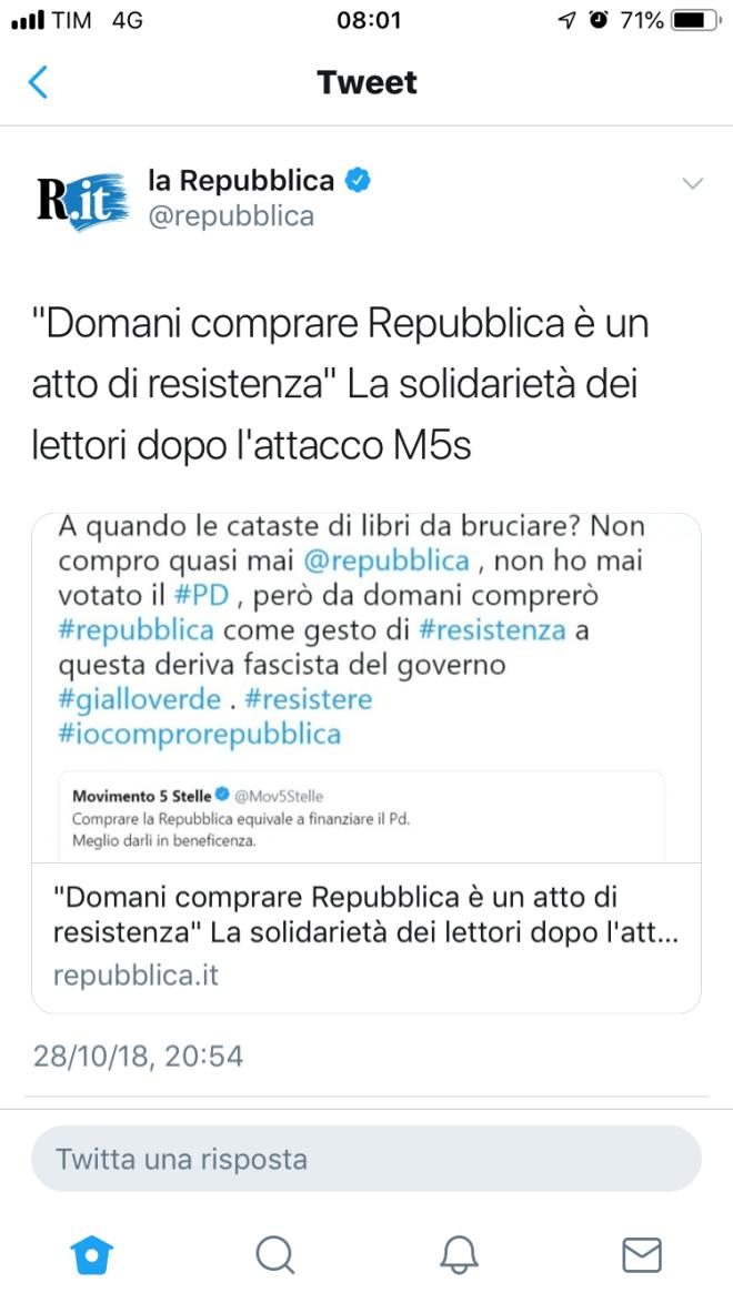 """Il tweet """"Domani comprare Repubblica è un atto di resistenza"""""""