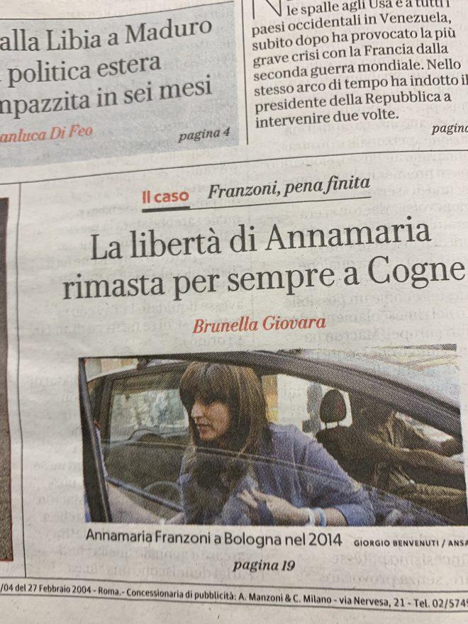Primi giorni di libertà per Anna Maria Franzoni