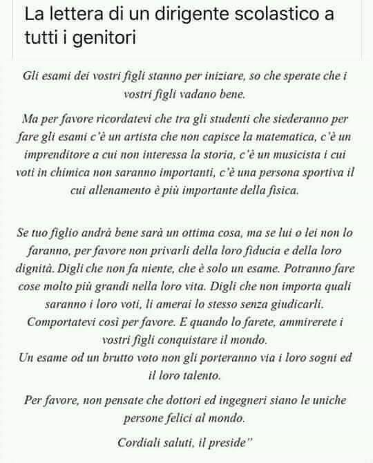 La lettera del dirigente scolastico ai genitori degli alunni