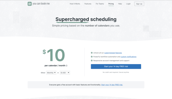 YouCanBook-Me pricing: $10 per calendar/month