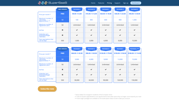 SuperSaas pricing plans