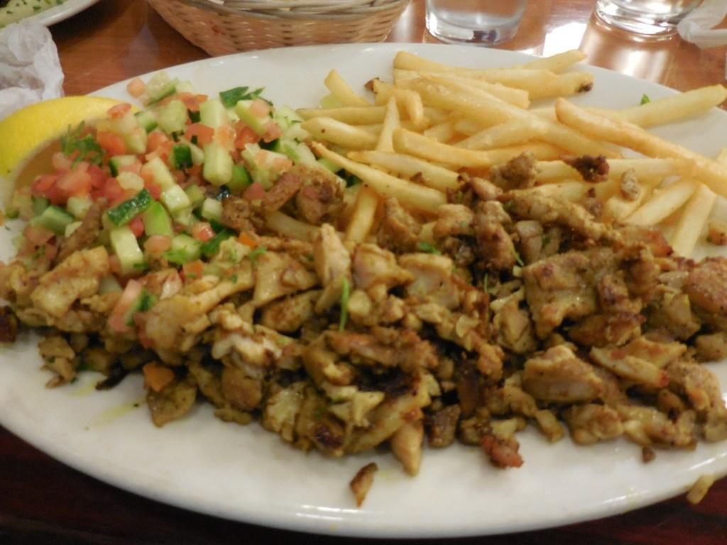 Shawarma on plate at Jerusalem Grill
