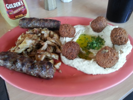 Beef kabob with hummus and falafel