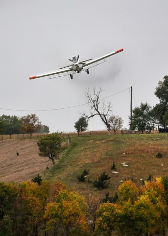 John O'Connell flies his Thrush Aircraft plane spraying over a field five miles east of Letcher on Tuesday, October 6, 2015 in Sanborn County. (Matt Gade/Republic)