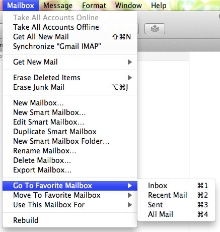 The 'Go To Favorite Mailbox' menu in Mail