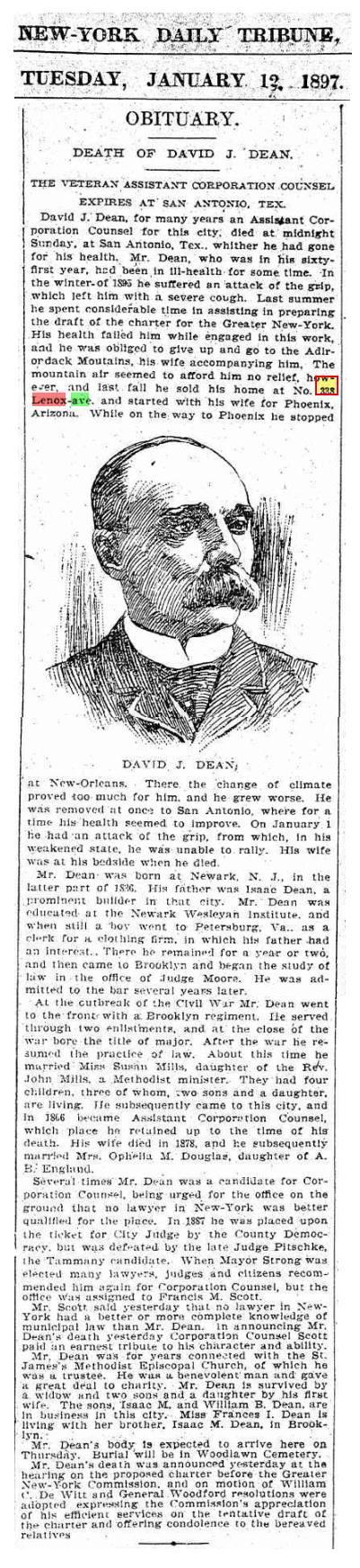 David J Dean Obituary, 1897