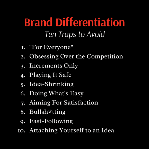 List of ten traps to avoid in brand differentiation