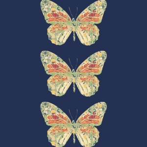 Collage digital contemporary modern art stag nature animal print butterflies