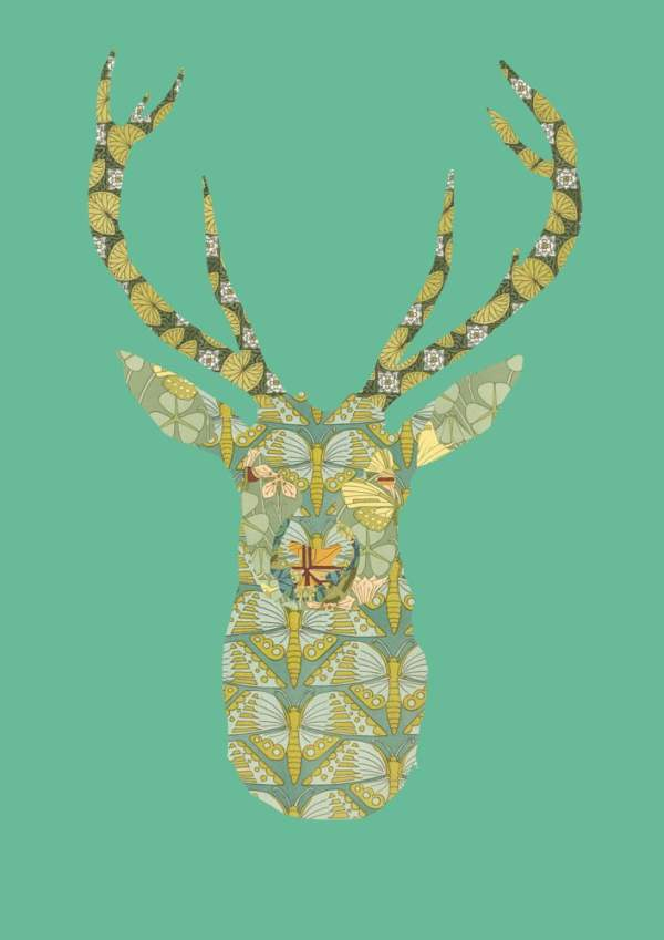Collage digital contemporary modern art stag nature animal print